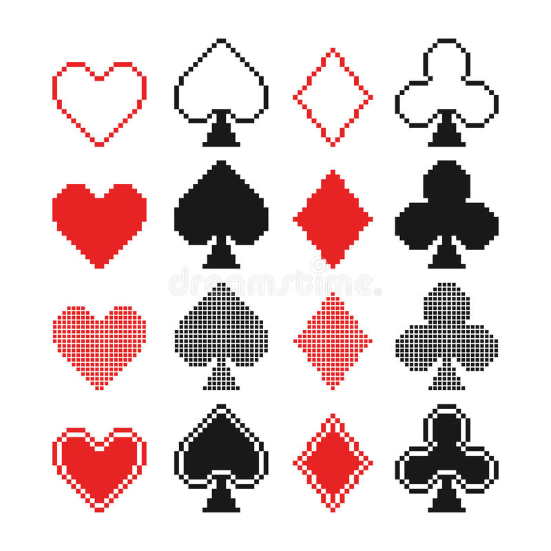 Set of pixel hearts, clubs, spades and diamonds ic vector illustration