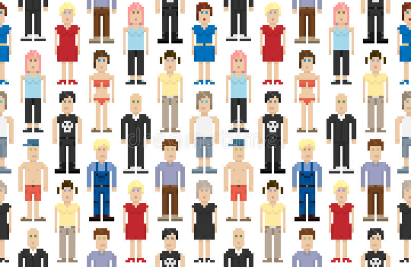 Download Set of pixel people stock vector. Illustration of cover - 26295857