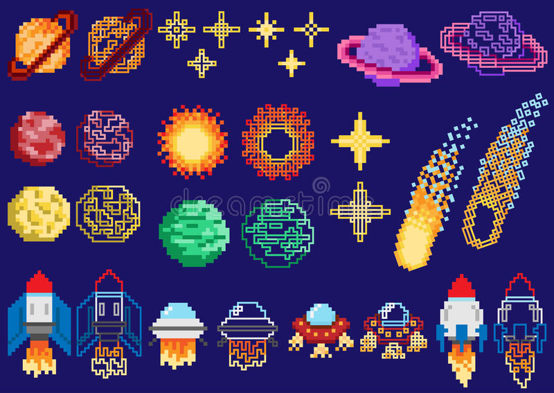 A set of pixel planets. Stars and spaceships vector illustration
