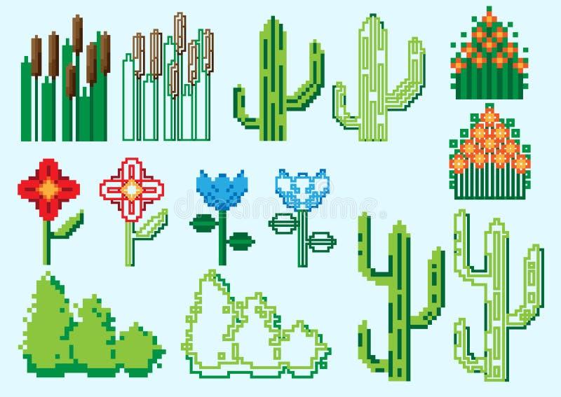 Set of pixel plants stock images