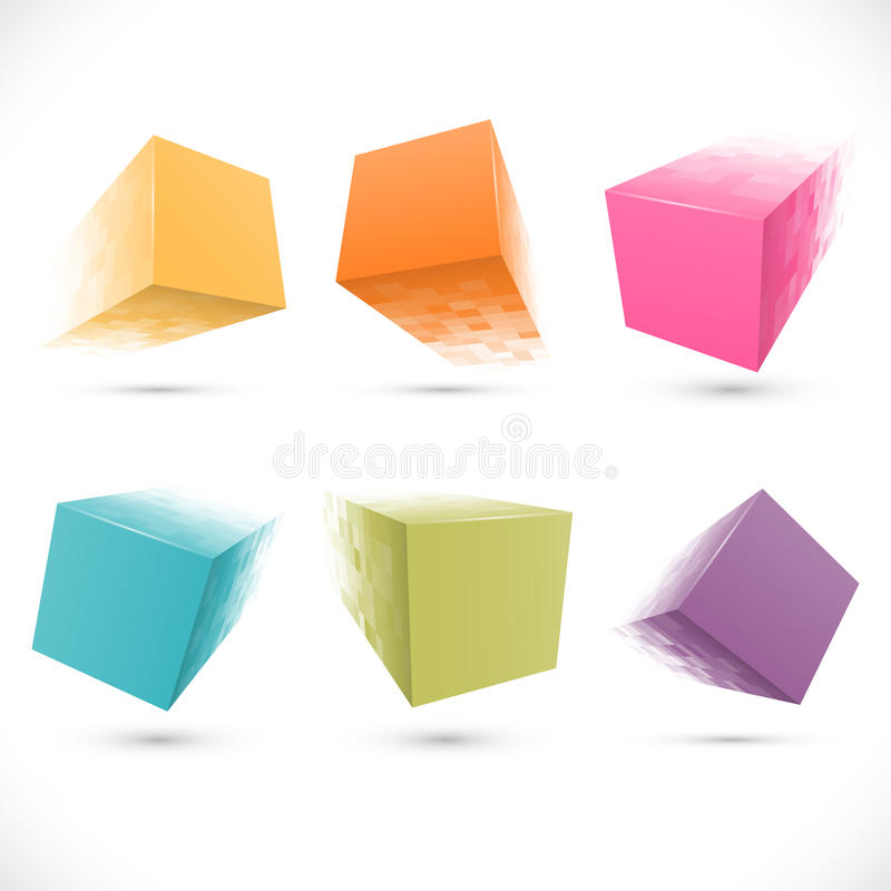 Set of pixelated cube banners stock illustration