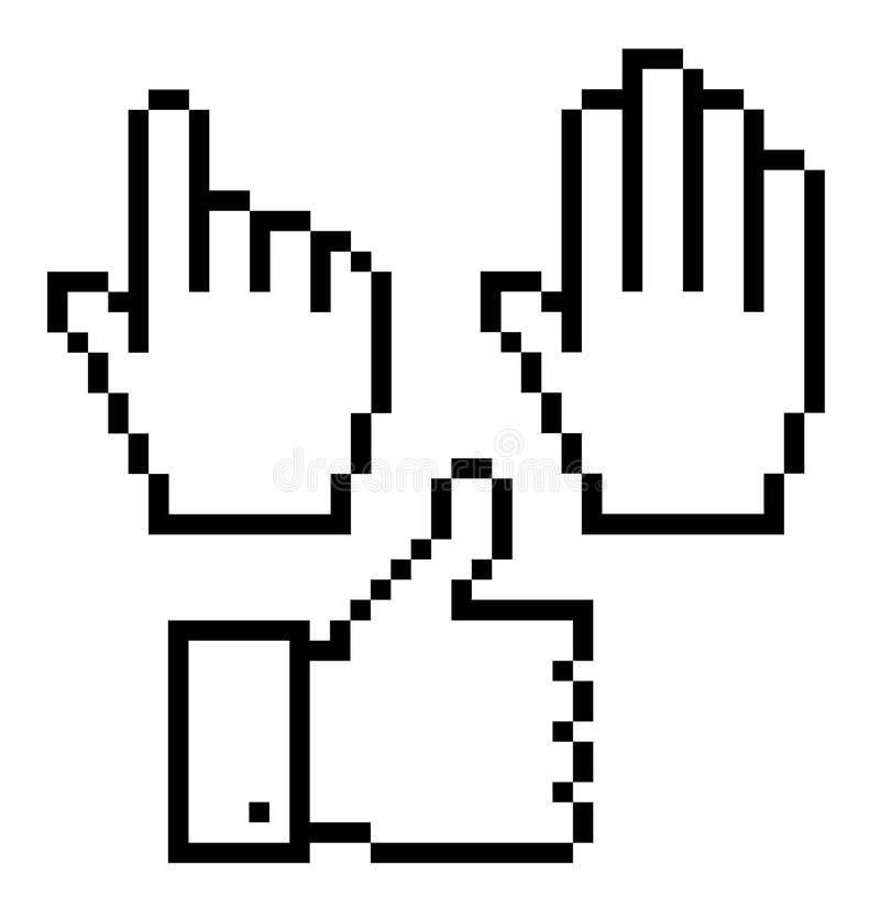 Set Of Pixelated Hand Icons, Stock Image
