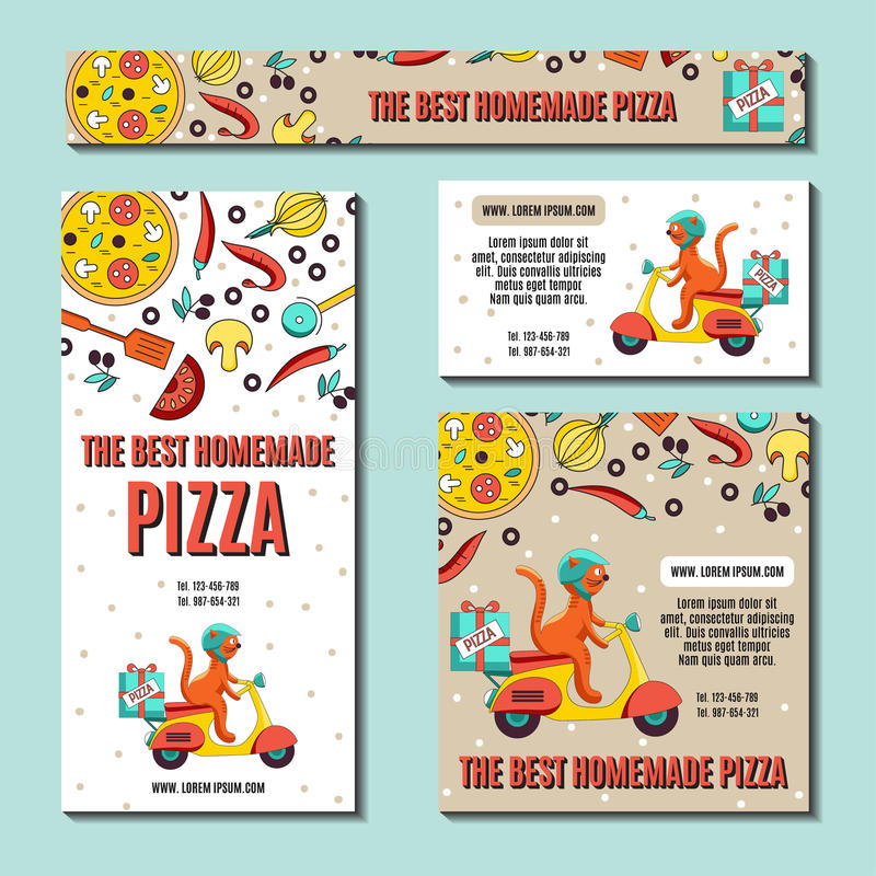 Set of Pizza flyer. stock vector. Illustration of draw - 67232184