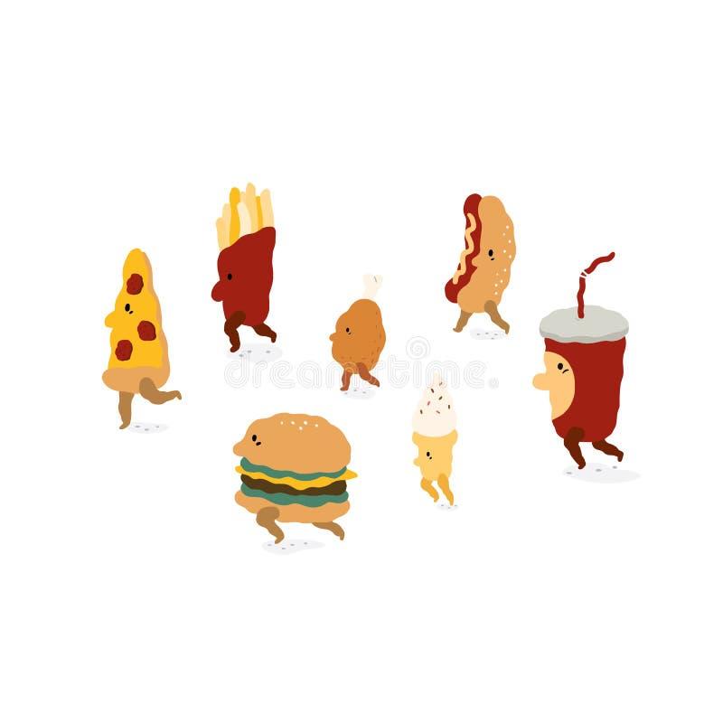 Set pizza, hamburger, francuz smaży, pieczony kurczak, lody, hotdog, sodowana napoju wektoru ilustracja Fastów food charakterów s ilustracji