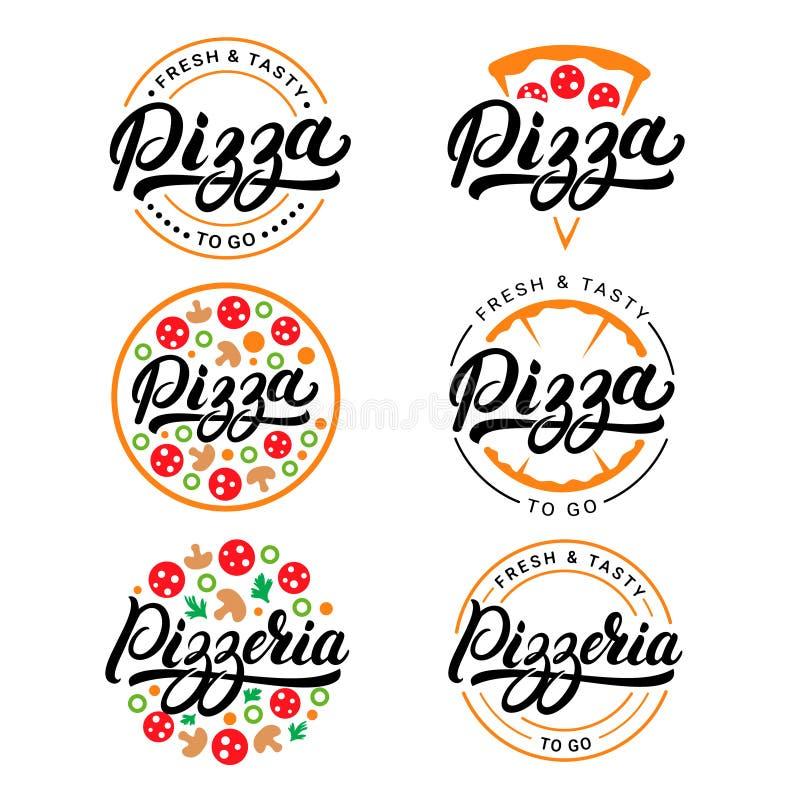 Set pizza i pizzeria wręczamy piszemy pisać list loga, etykietka, odznaka ilustracji