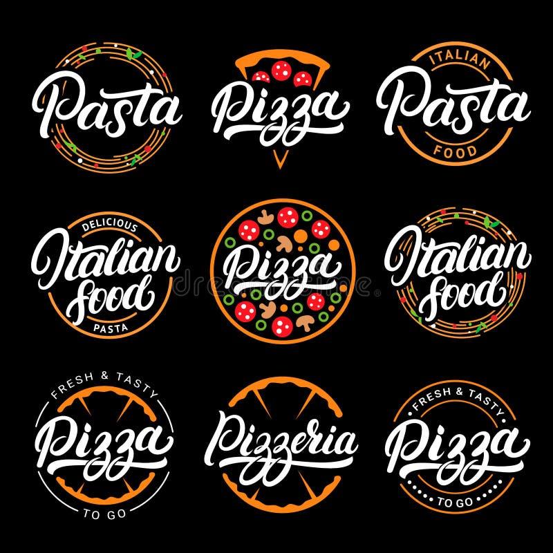 Set pizza, makaron, pizzeria i włoska karmowa ręka pisać, royalty ilustracja