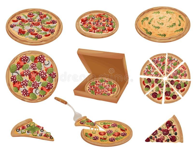 Set pizze różni kształty t?a ilustracyjny rekinu wektoru biel ilustracji