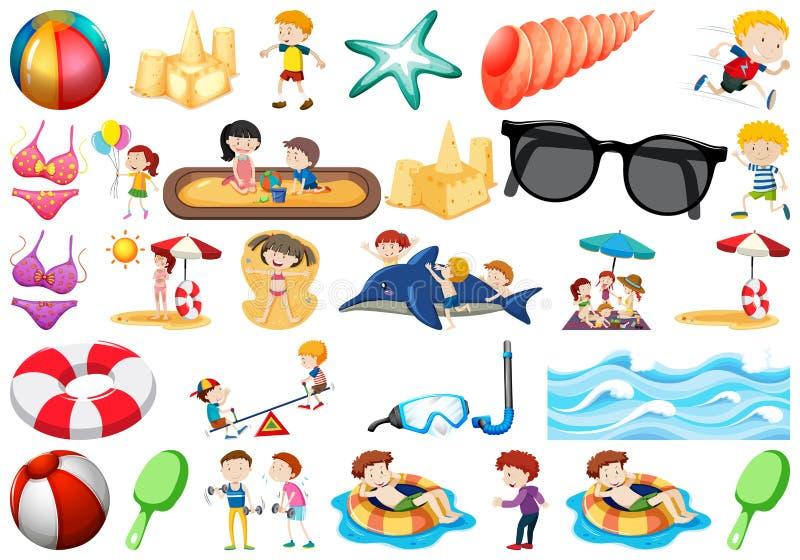 Set plażowi przedmioty royalty ilustracja