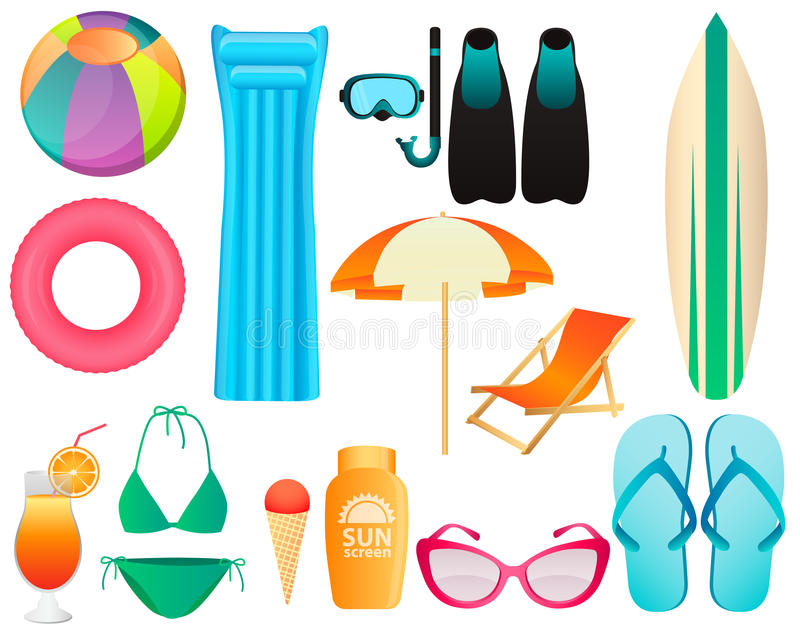 Set plażowi akcesoria royalty ilustracja