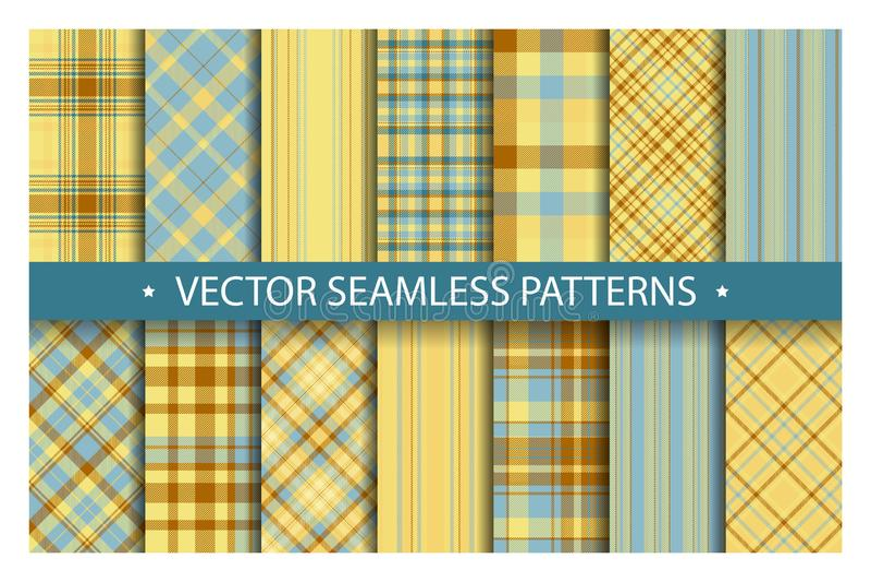 Set plaid pattern seamless. Tartan patterns fabric texture. Checkered geometric vector background. stock illustration