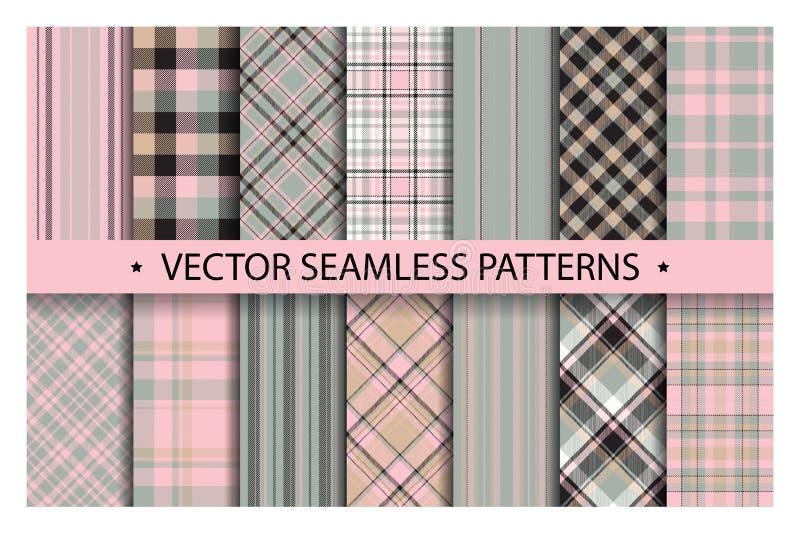 Set plaid pattern seamless. Tartan patterns fabric texture. Checkered geometric vector background. royalty free illustration