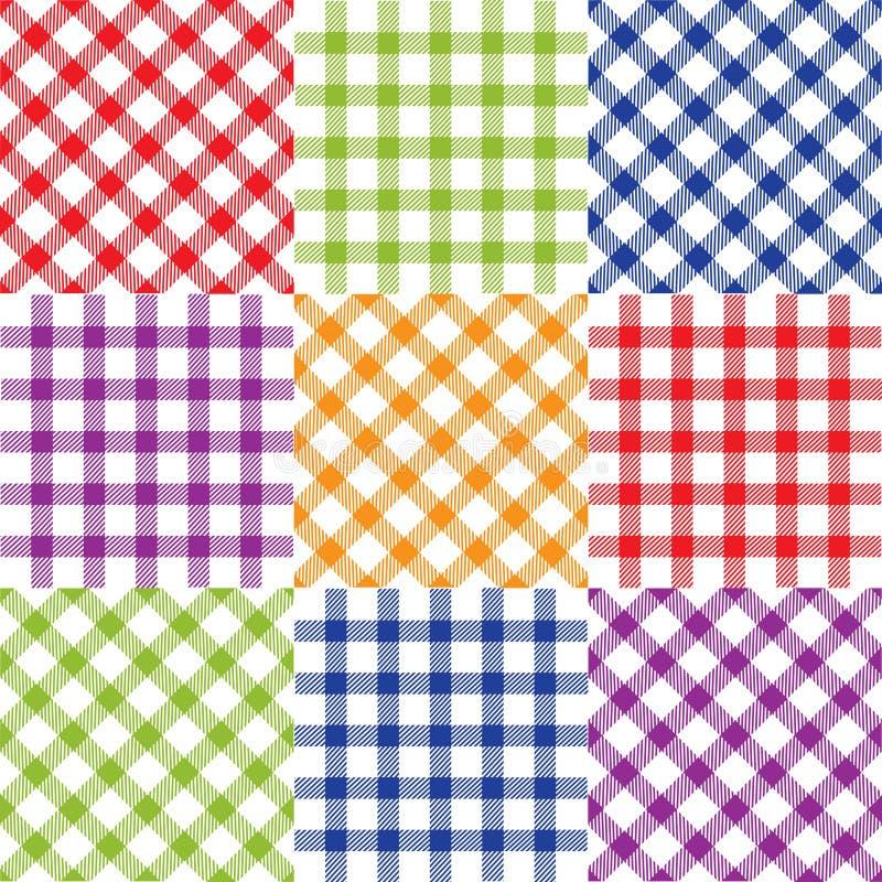 Set of plaid seamless patterns stock illustration