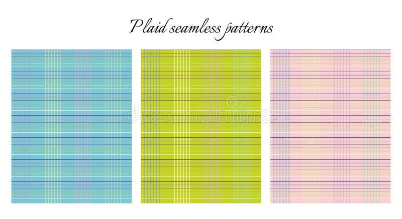 Set of plaid seamless patterns. stock illustration