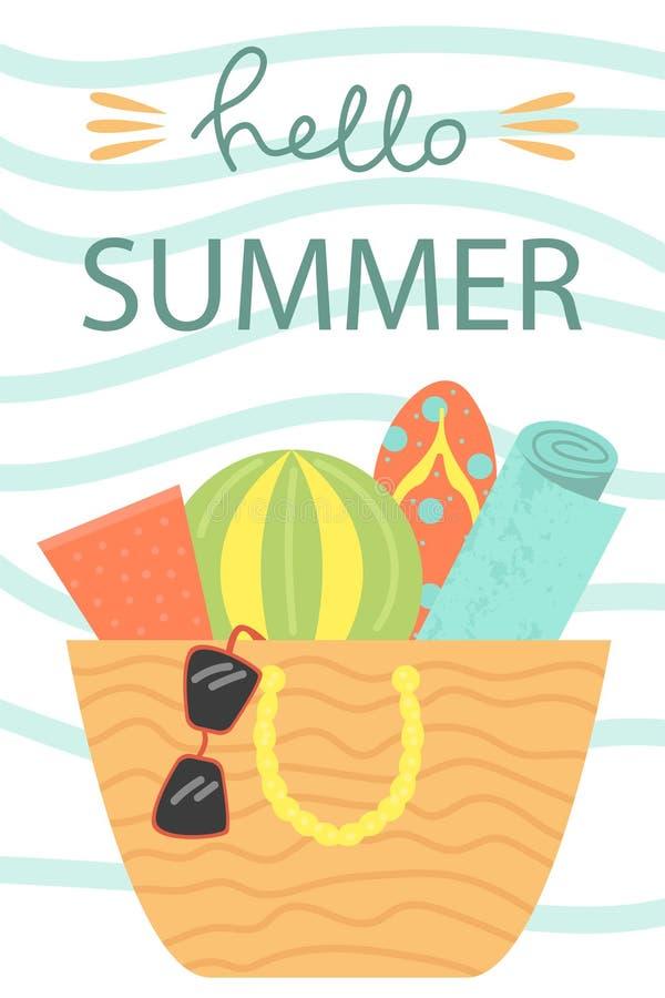 Set 3 plakata lato Wektorowy projekta pojęcie dla lata Cześć lato ilustracja wektor