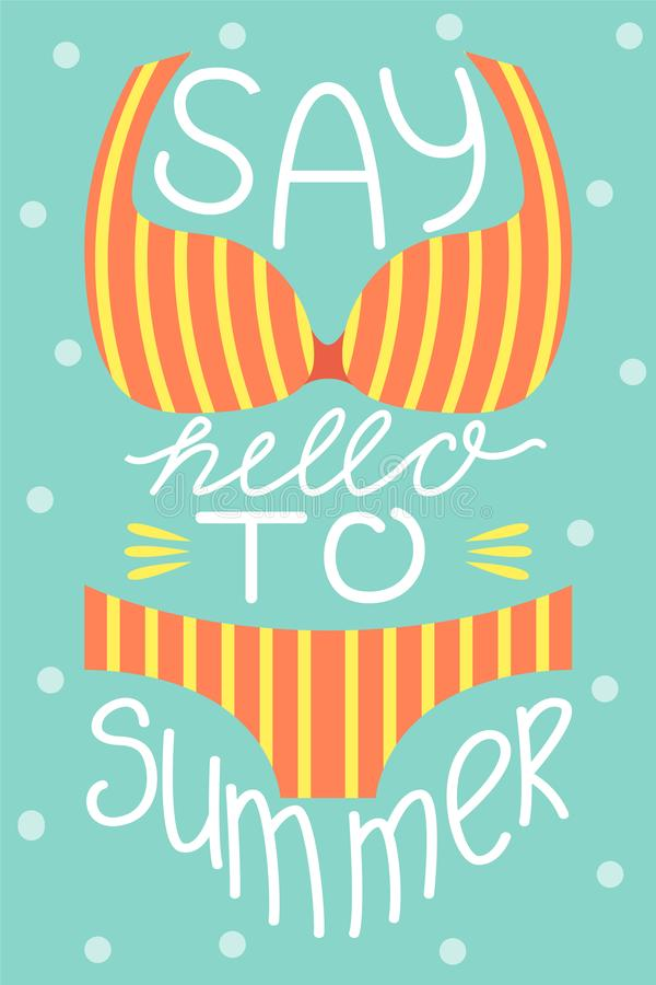 Set 3 plakata lato Wektorowy projekta pojęcie dla lata Mówi lato cześć ilustracja wektor