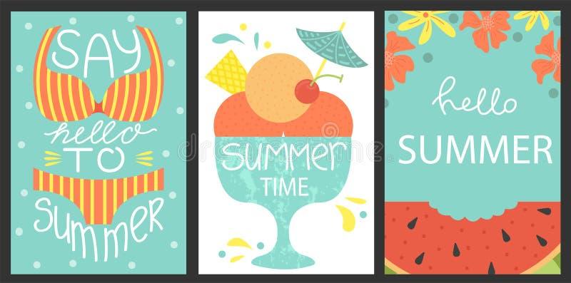 Set 3 plakata lato Wektorowy projekta pojęcie dla lata Morze wakacje, arbuza plasterek, lody royalty ilustracja