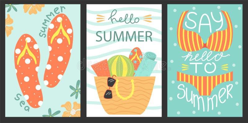 Set 3 plakata lato Wektorowy projekta pojęcie dla lata Morze wakacje royalty ilustracja