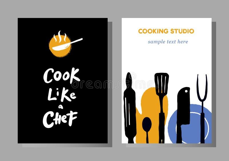 Set plakaty dla kulinarnych masterclasses, karmowy studio ilustracja wektor