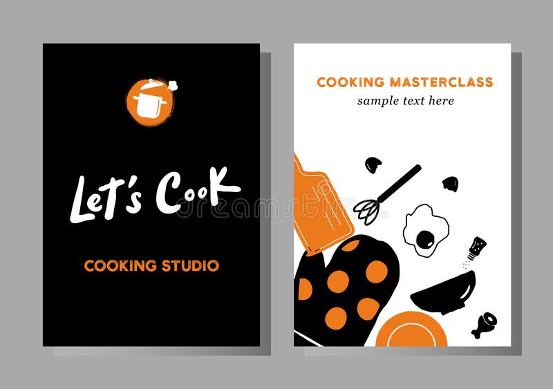 Set plakaty dla kulinarnych masterclasses, karmowy studio, karmowy fest ilustracji