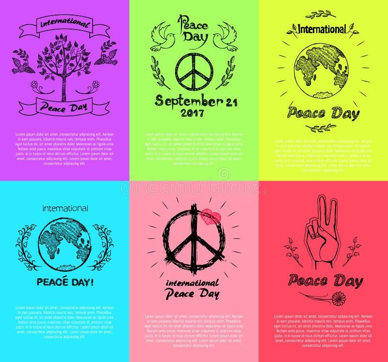 Set plakaty dla pokoju dnia wektoru ilustraci ilustracja wektor