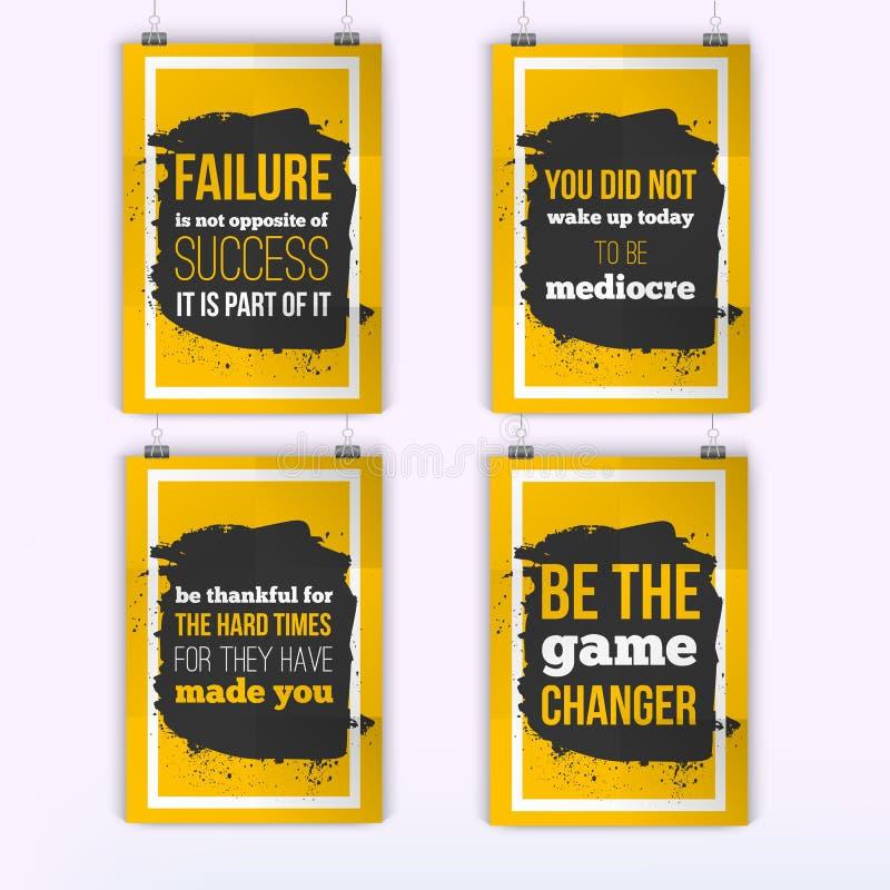 Set plakaty o motywaci inspiraci Wektorowy typografii wycena sztandaru projekta pojęcie Plakata egzamin próbny Up ilustracja wektor