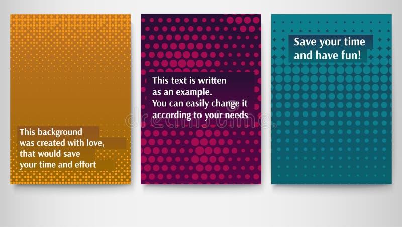 Set plakaty, układu szablon w A4 rozmiarze, biznesowa broszurka, ulotka projekt Papierowy plakat z barwionym halftone kropkującym ilustracja wektor