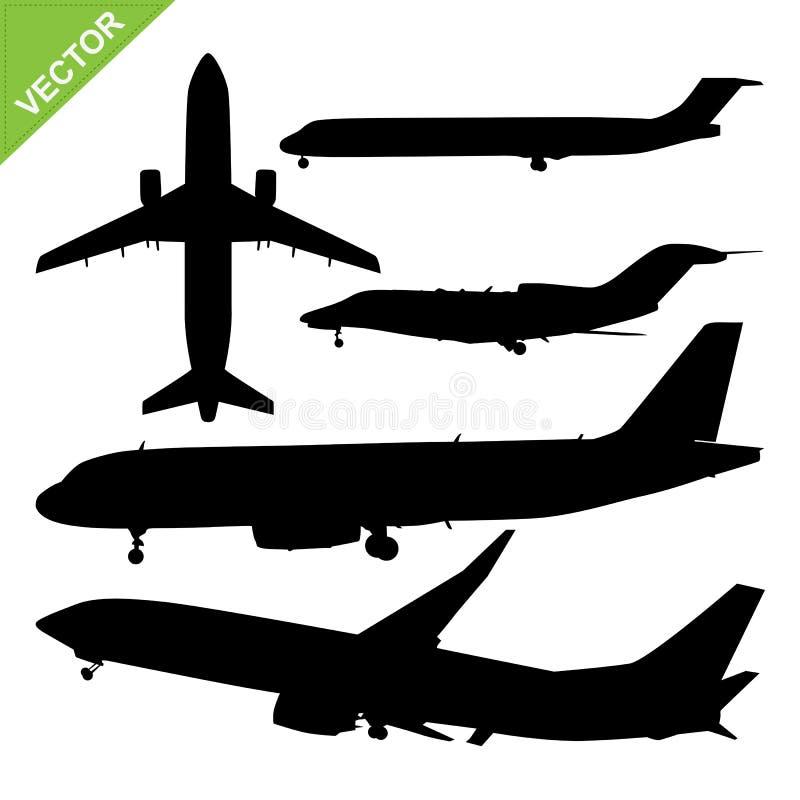 Plane silhouette vector. Set of plane silhouette vector vector illustration
