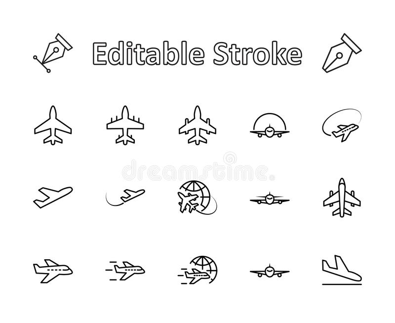 Set of plane vector line icon. It contains symbols to aircraft, globe and more. Editable move. 32x32 pixels. stock images