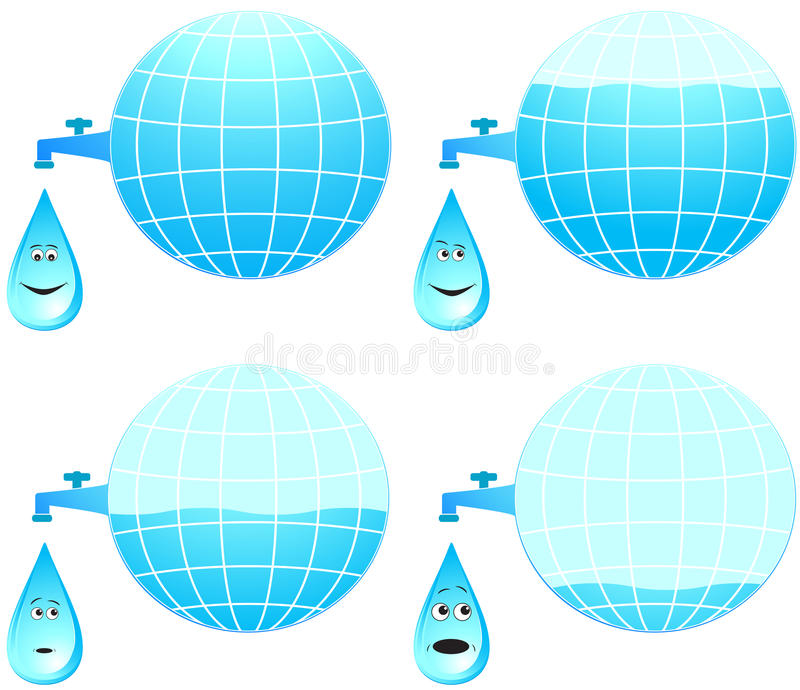 Set planet and cartoon face drop. Different emotion vector illustration