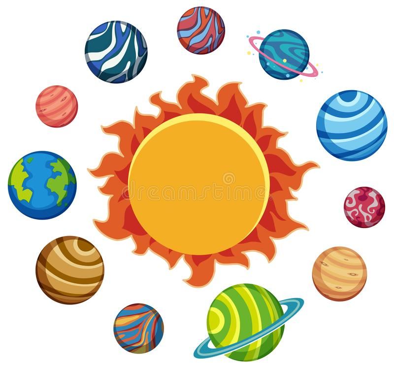 Set of planets and sun. Illustration royalty free illustration