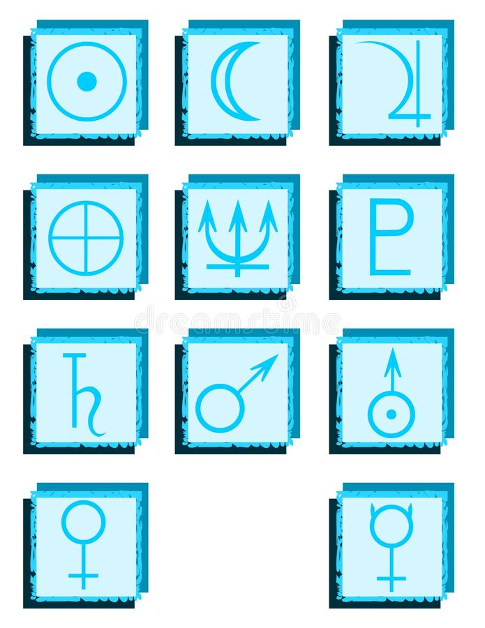 Set of planets symbols on abstract backgrounds vector illustration