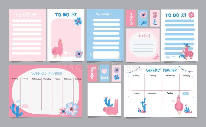 Set planiści i robić listom z prostymi scandinavian ilustracjami i modnym literowaniem z kaktusami i ślicznymi lama charakterami ilustracja wektor