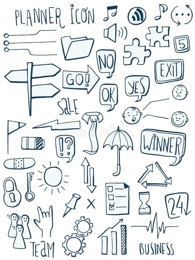 Set of planner icon doodles. Hand drawn sketched. Vector Illustration. royalty free illustration