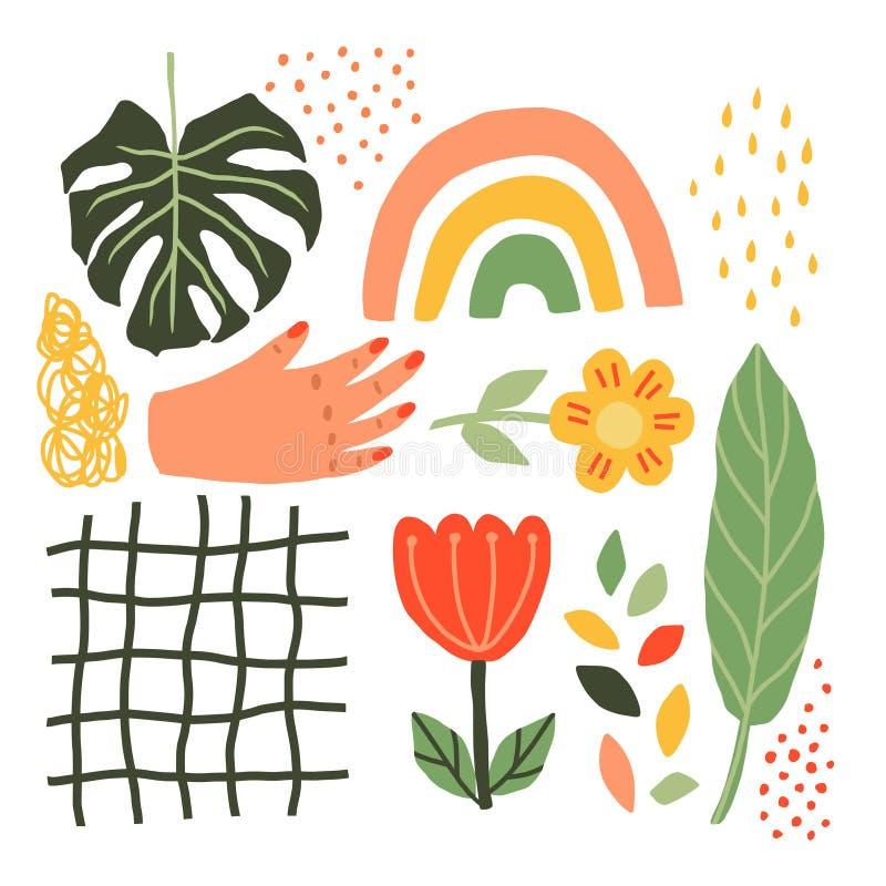 Set Of Plants , Flowers, Hands, Rainbows, Leaves Monstera Scandinavian style. Vector Minimalistic Hand Draw Elements royalty free illustration