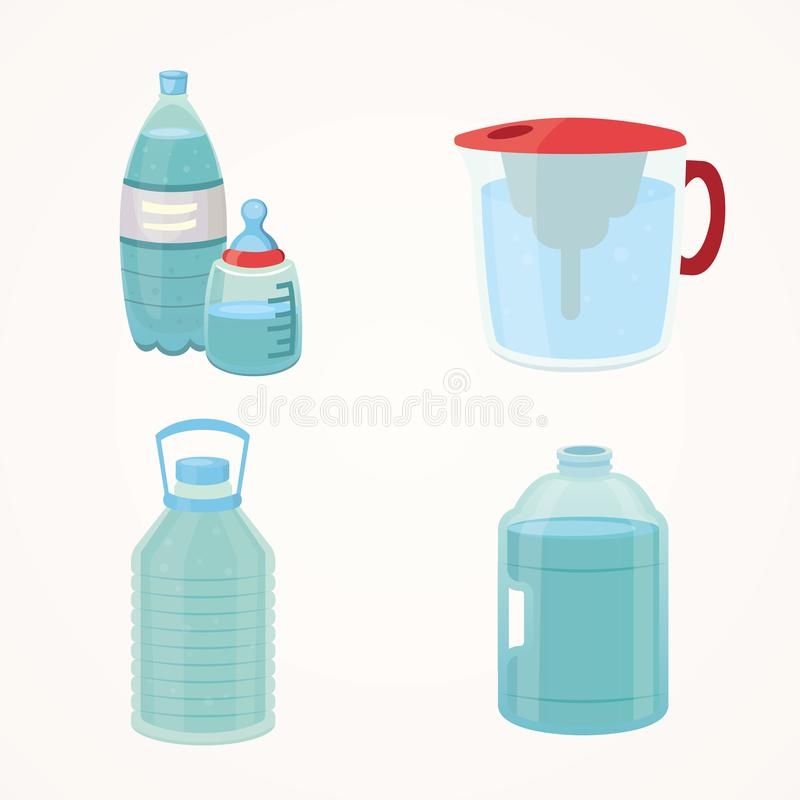 Set Plastic bottle of pure water, different bottle design vector illustration