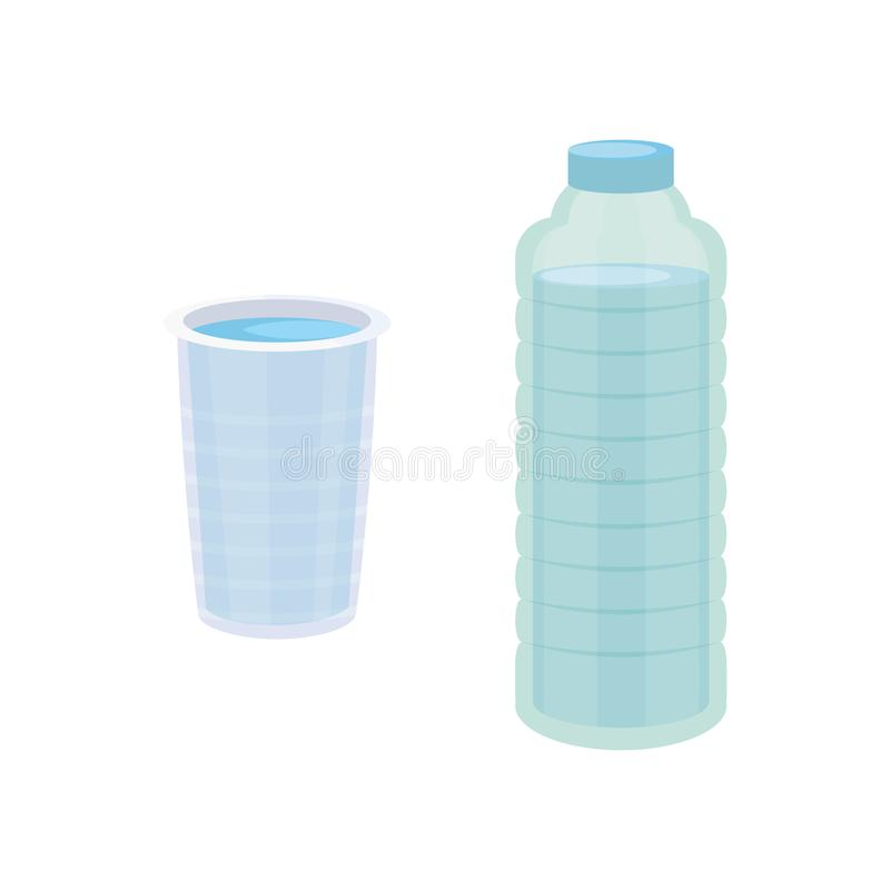 Set Plastic bottle of pure water, different bottle design vector illustration in cartoon style. vector illustration