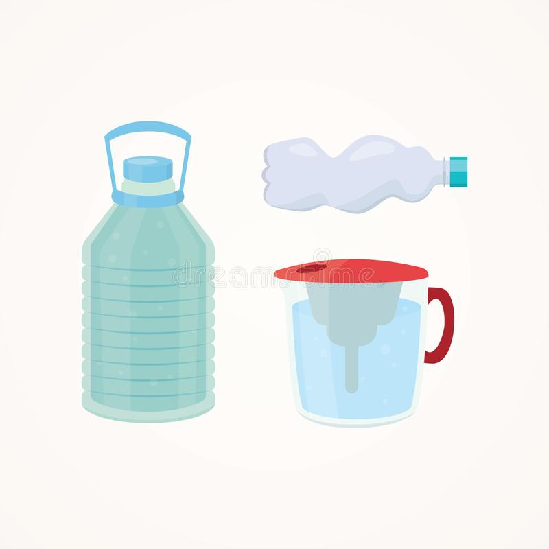 Set Plastic bottle of pure water, different bottle design vector illustration in cartoon style. royalty free illustration