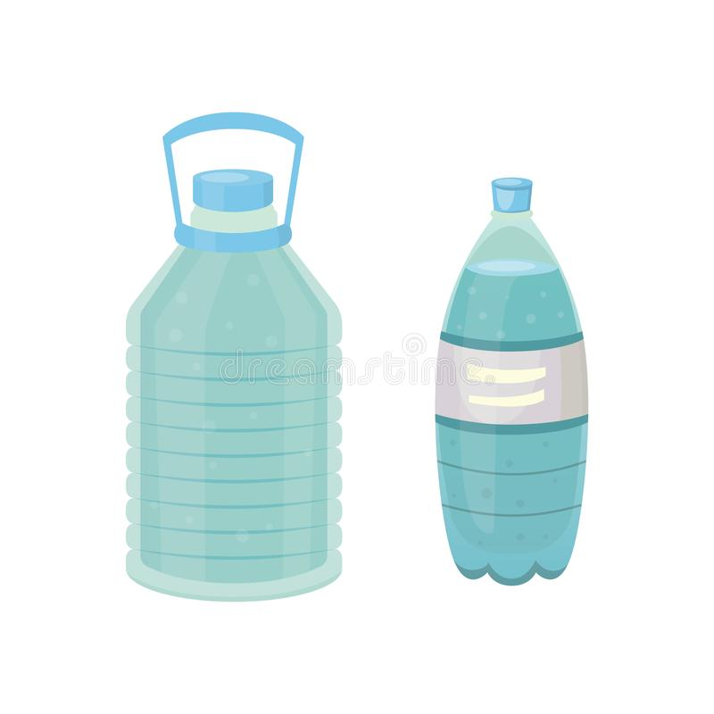 Set Plastic bottle of pure water, different bottle design vector illustration in cartoon style. stock illustration
