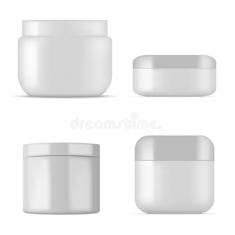 Set of plastic cosmetic jar for cream, gel or powder. Vector stock illustration