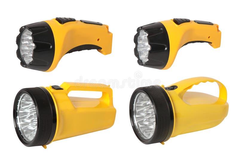 Set of plastic garden flashlights.  Isolated stock photography