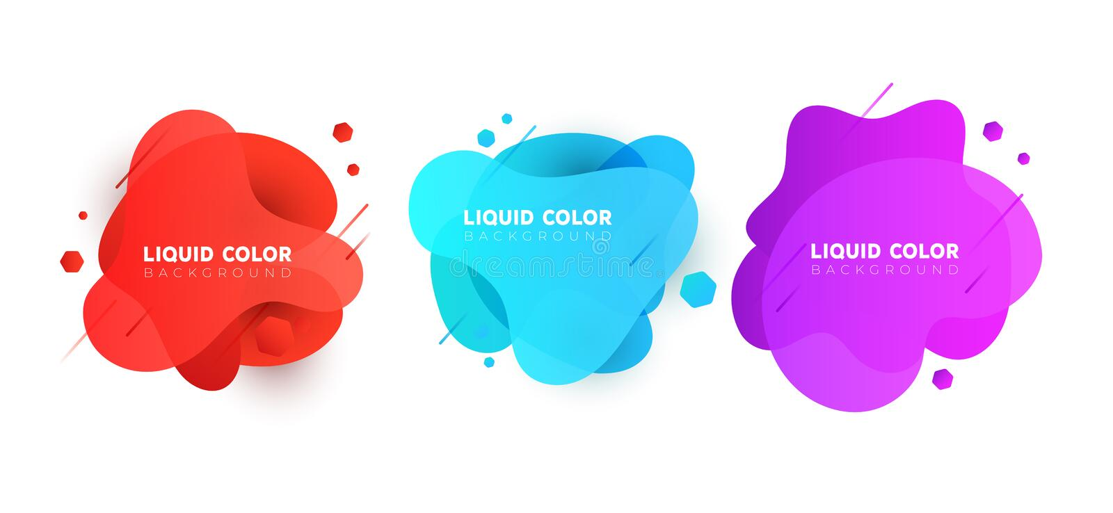 Set of plastic liquid gradient bubbles banner. Vector design for covers, greeting card, poster or flyers. royalty free illustration