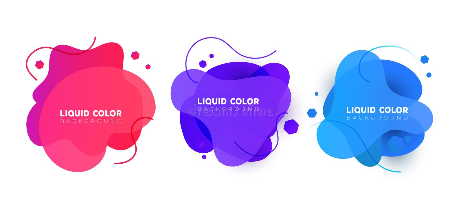 Set of plastic liquid gradient bubbles banner. Vector design for covers, greeting card, poster or flyers. vector illustration