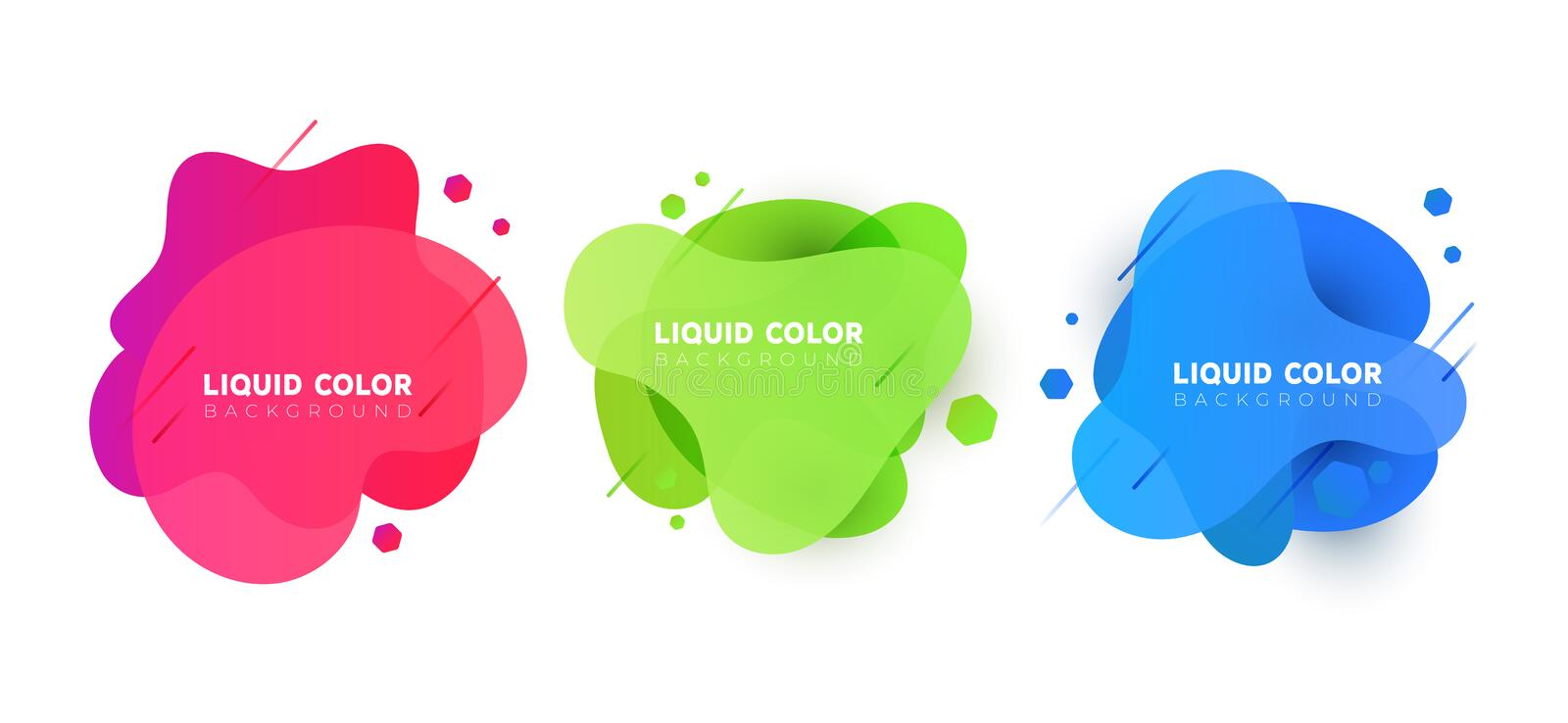 Set of plastic liquid gradient bubbles banner. Vector design for covers, greeting card, poster or flyers vector illustration