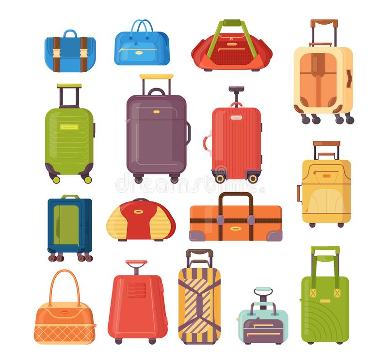 Set of plastic and metal suitcases, backpacks, bags for luggage. vector illustration