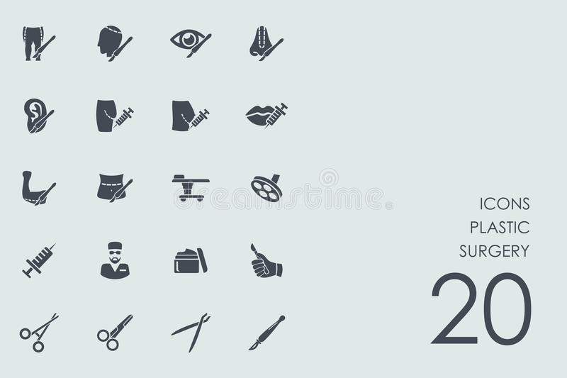 Set of plastic surgery icons. Plastic surgery vector set of modern simple icons royalty free illustration