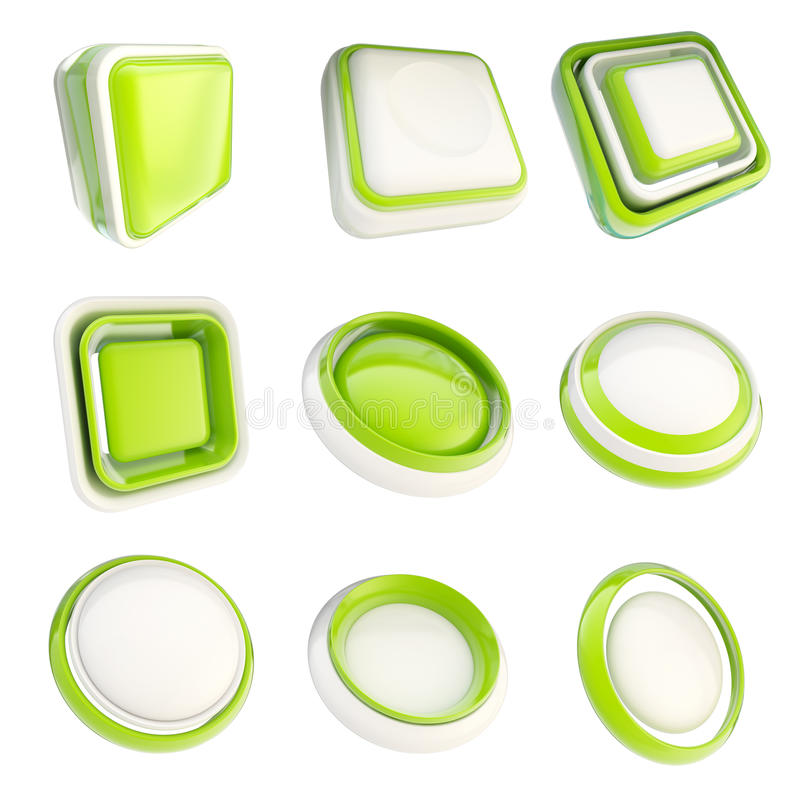 Set of plastic template buttons isolated. Set of green glossy plastic copyspace template buttons isolated on white vector illustration