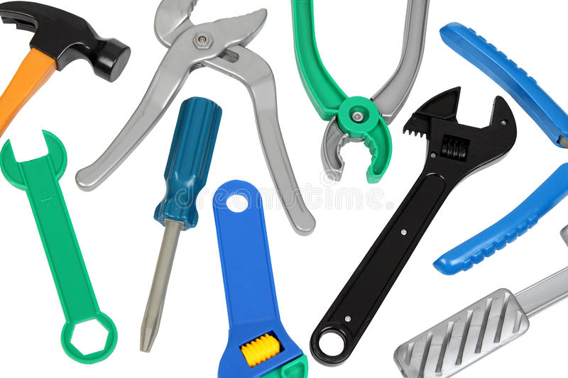 Set of plastic toy tools. Over white background royalty free stock photo