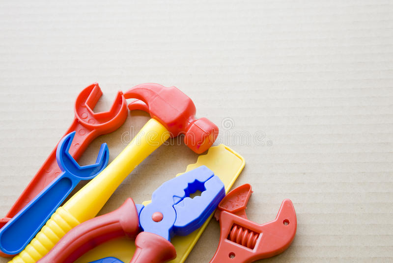 Plastic Toy Tools : Set of plastic toy tools stock photography image