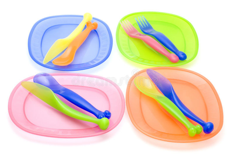 Set plastic ware royalty free stock images