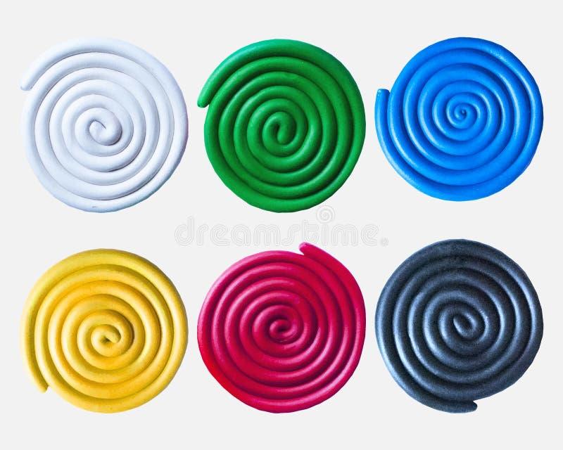 Set of plasticine colorful spirals. Set of six plasticine colorful spirals stock illustration